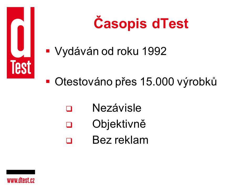 Časopis dTest Vydáván od roku 1992 Otestováno přes 15.000 výrobků