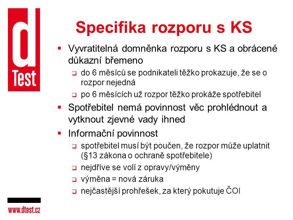 Specifika rozporu s KS Vyvratitelná domněnka rozporu s KS a obrácené důkazní břemeno.