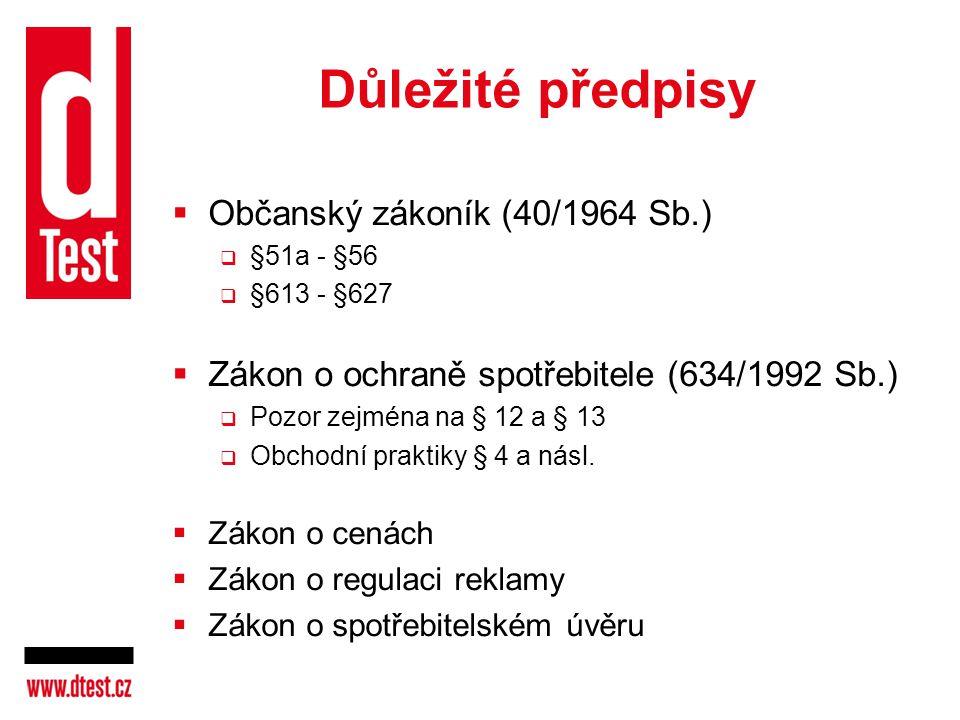 Důležité předpisy Občanský zákoník (40/1964 Sb.)