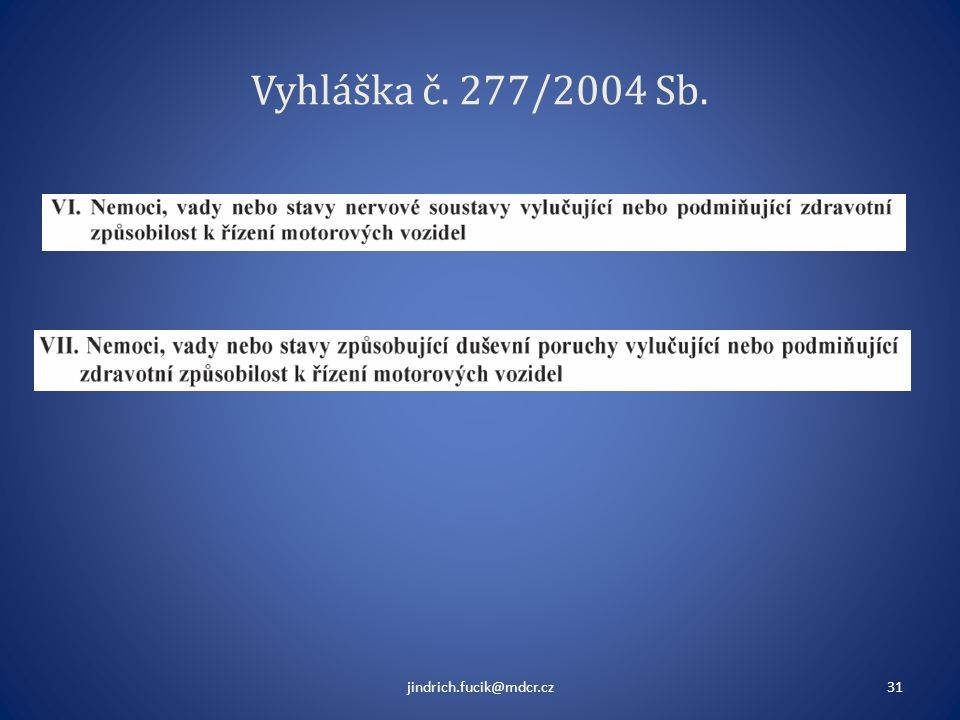 Vyhláška č. 277/2004 Sb. jindrich.fucik@mdcr.cz