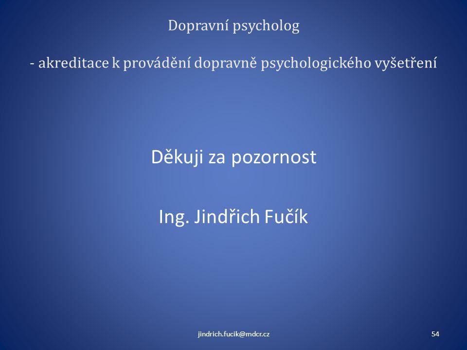 Děkuji za pozornost Ing. Jindřich Fučík
