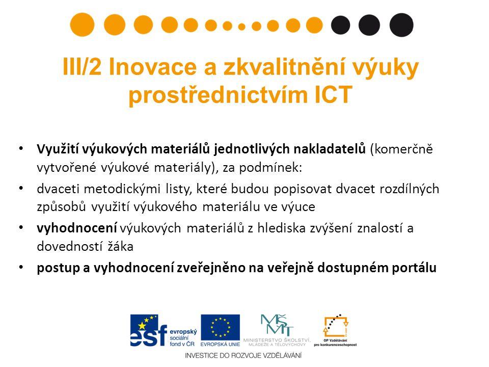 III/2 Inovace a zkvalitnění výuky prostřednictvím ICT