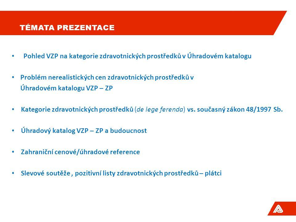 Témata prezentace Pohled VZP na kategorie zdravotnických prostředků v Úhradovém katalogu. Problém nerealistických cen zdravotnických prostředků v.
