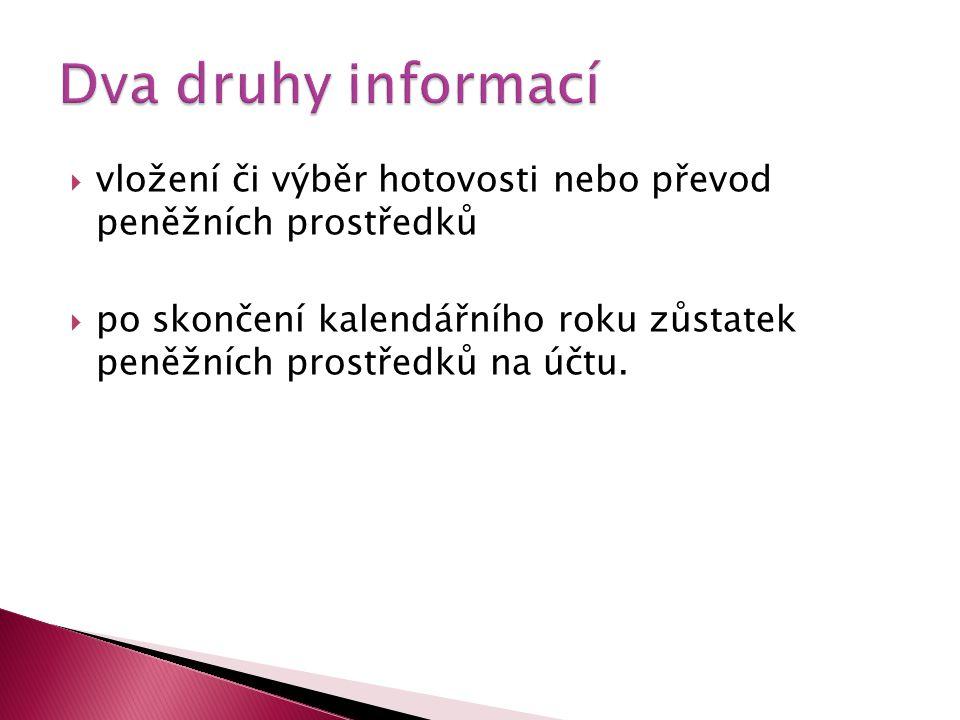 Dva druhy informací vložení či výběr hotovosti nebo převod peněžních prostředků.