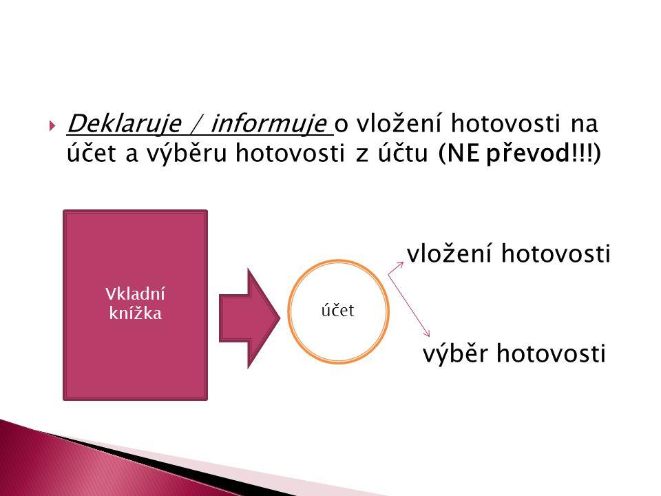 Deklaruje / informuje o vložení hotovosti na účet a výběru hotovosti z účtu (NE převod!!!)