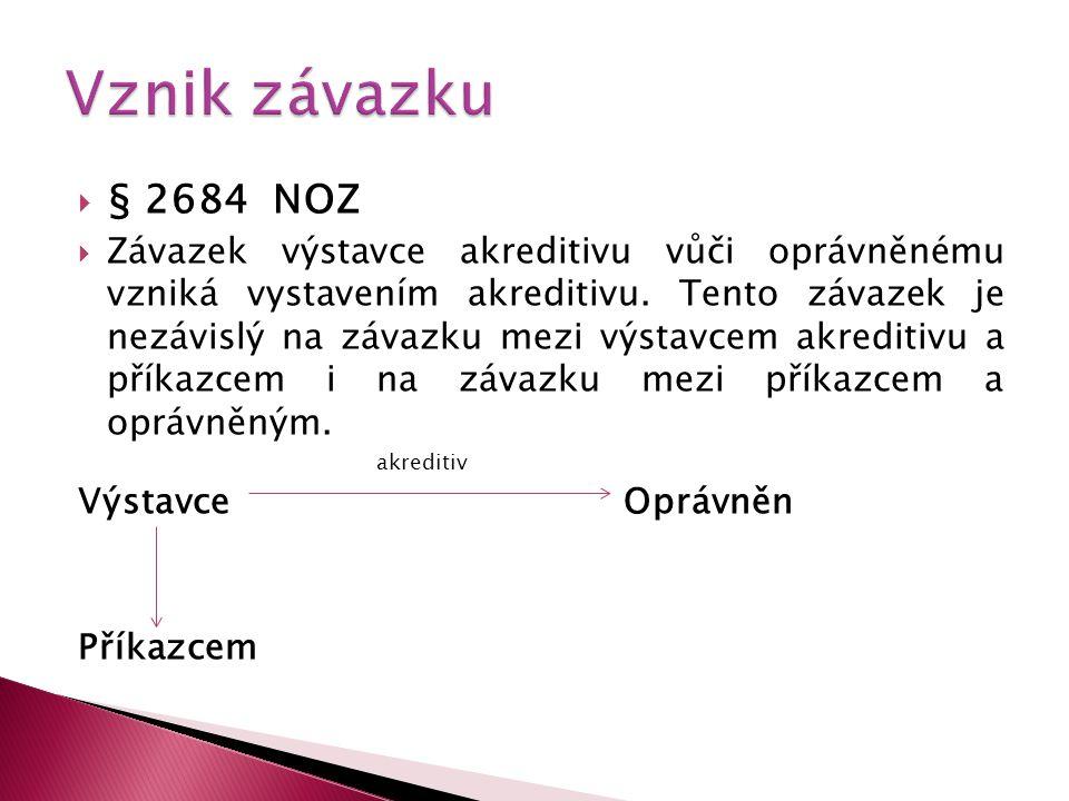 Vznik závazku § 2684 NOZ.