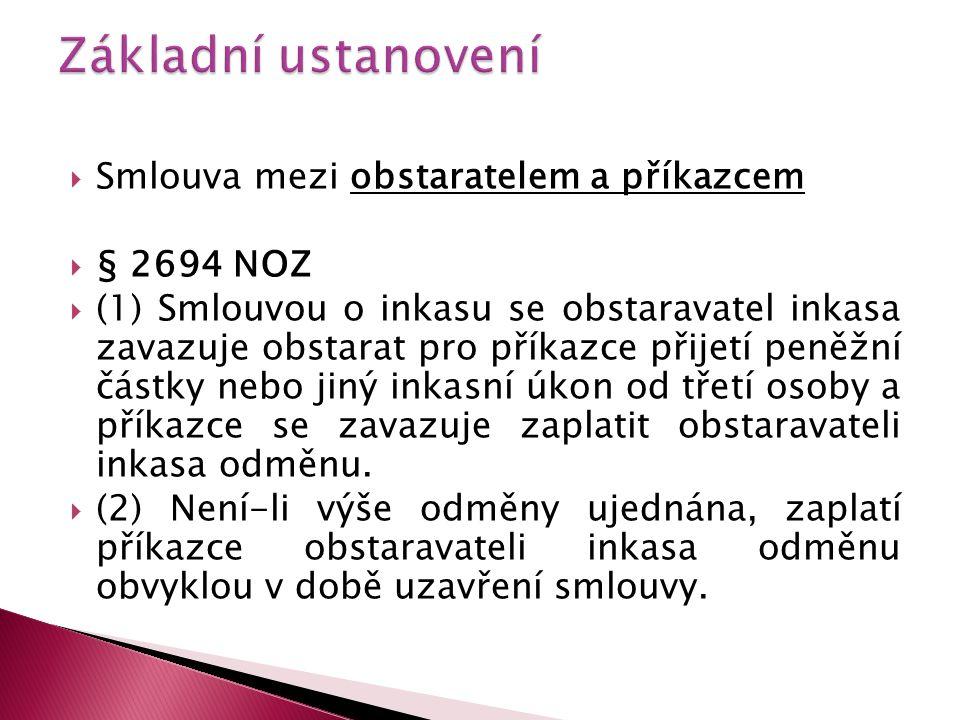 Základní ustanovení Smlouva mezi obstaratelem a příkazcem § 2694 NOZ