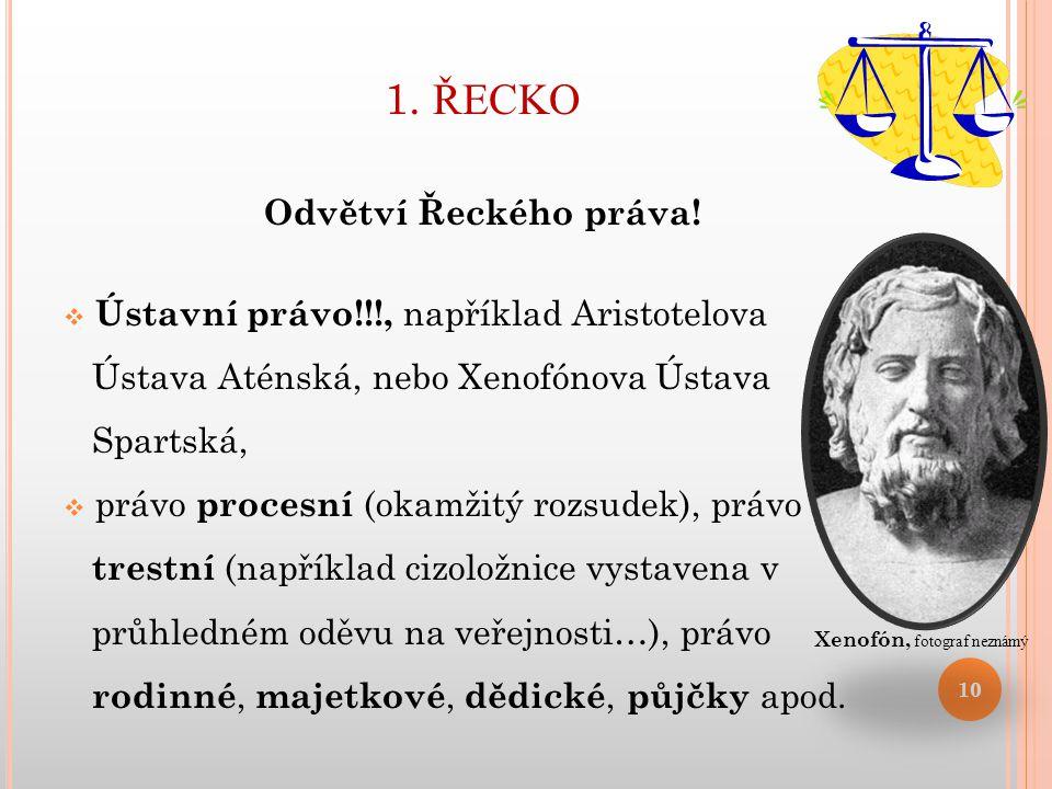 1. ŘECKO Odvětví Řeckého práva!