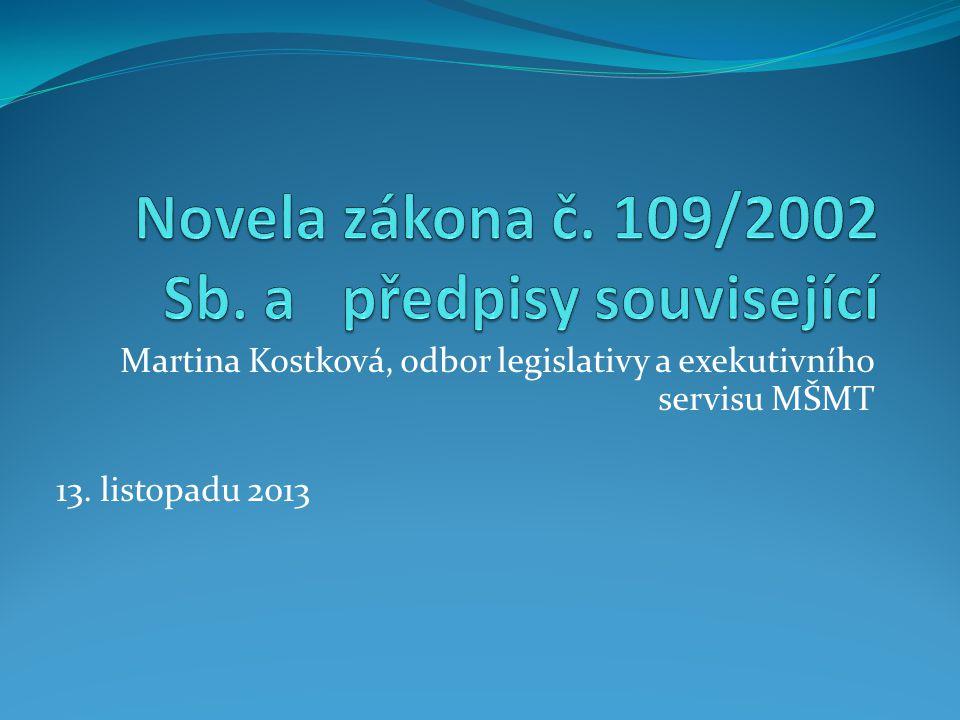 Novela zákona č. 109/2002 Sb. a předpisy související