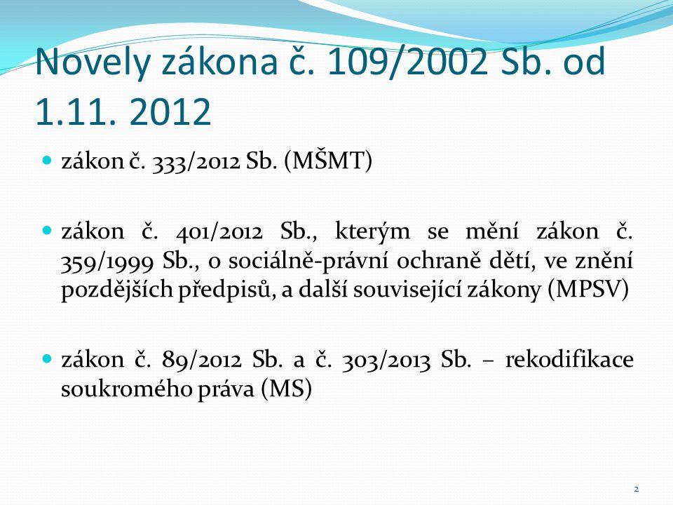 Novely zákona č. 109/2002 Sb. od 1.11. 2012 zákon č. 333/2012 Sb. (MŠMT)