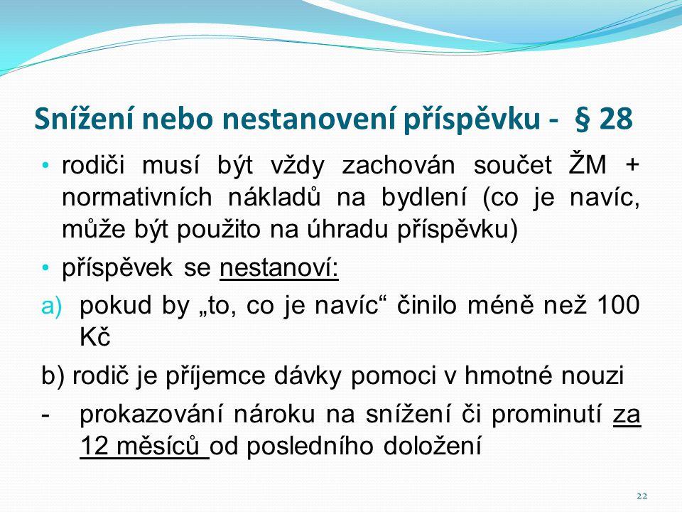 Snížení nebo nestanovení příspěvku - § 28