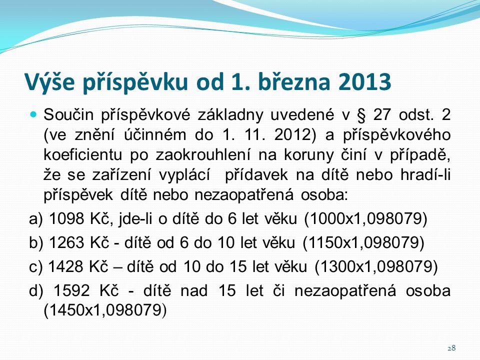 Výše příspěvku od 1. března 2013