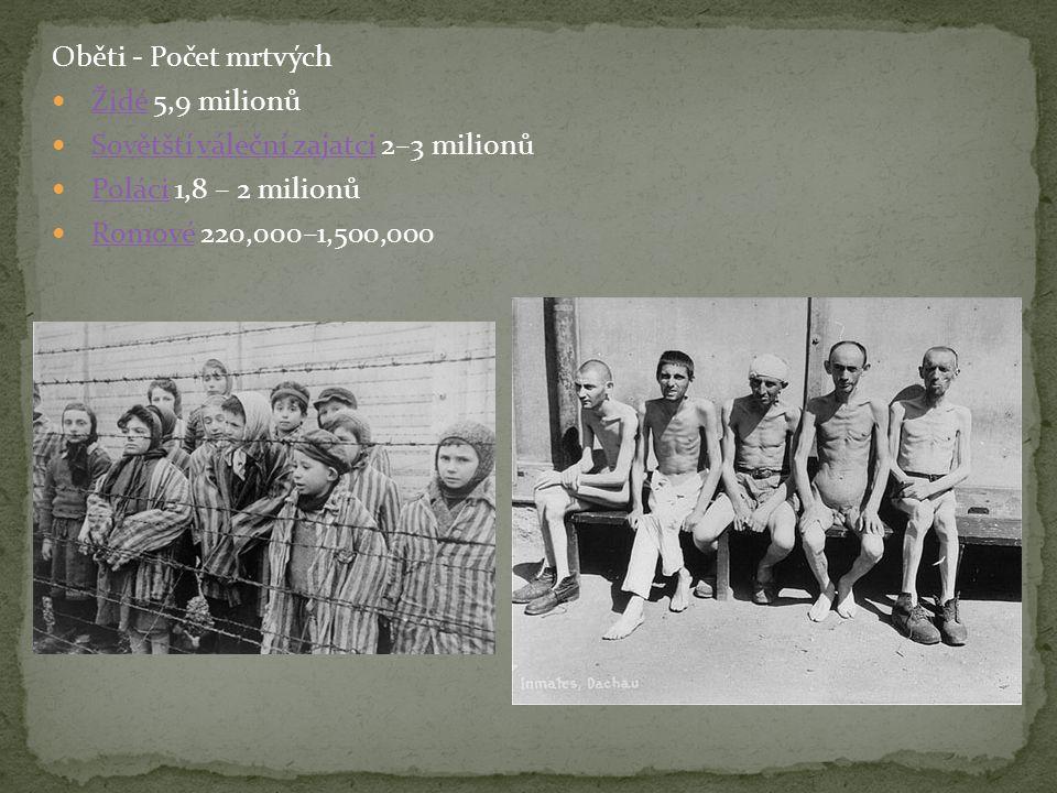 Oběti - Počet mrtvých Židé 5,9 milionů. Sovětští váleční zajatci 2–3 milionů. Poláci 1,8 – 2 milionů.