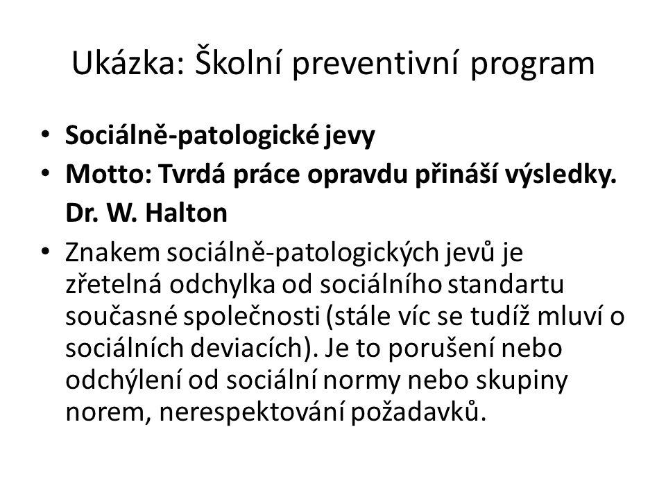 Ukázka: Školní preventivní program