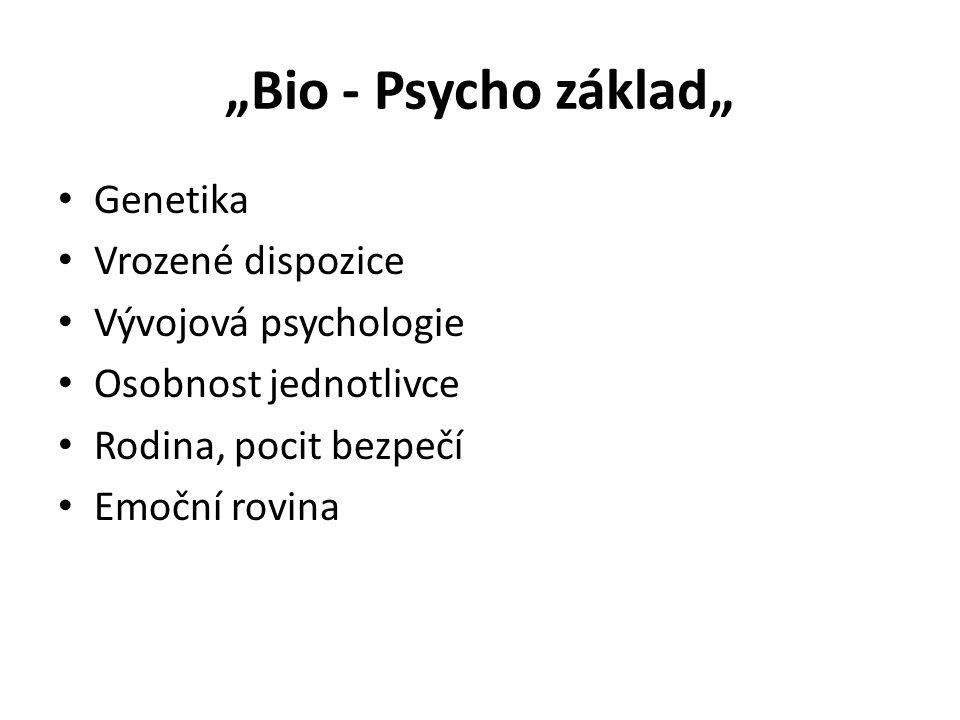 """""""Bio - Psycho základ"""" Genetika Vrozené dispozice Vývojová psychologie"""