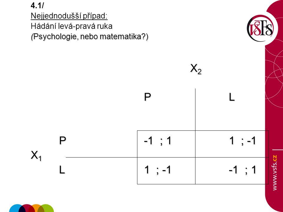 X2 P L P -1 ; 1 1 ; -1 X1 L 1 ; -1 -1 ; 1 4.1/ Nejjednodušší případ: