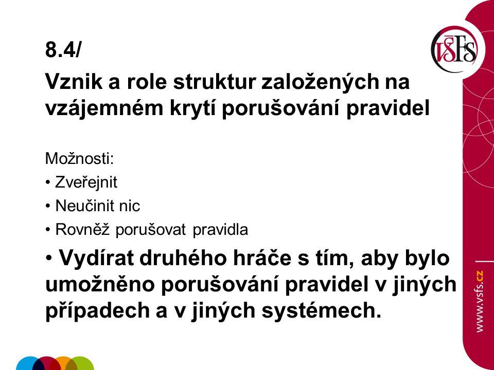 8.4/ Vznik a role struktur založených na vzájemném krytí porušování pravidel. Možnosti: Zveřejnit.