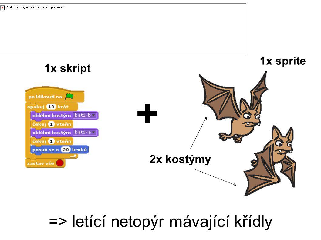=> letící netopýr mávající křídly