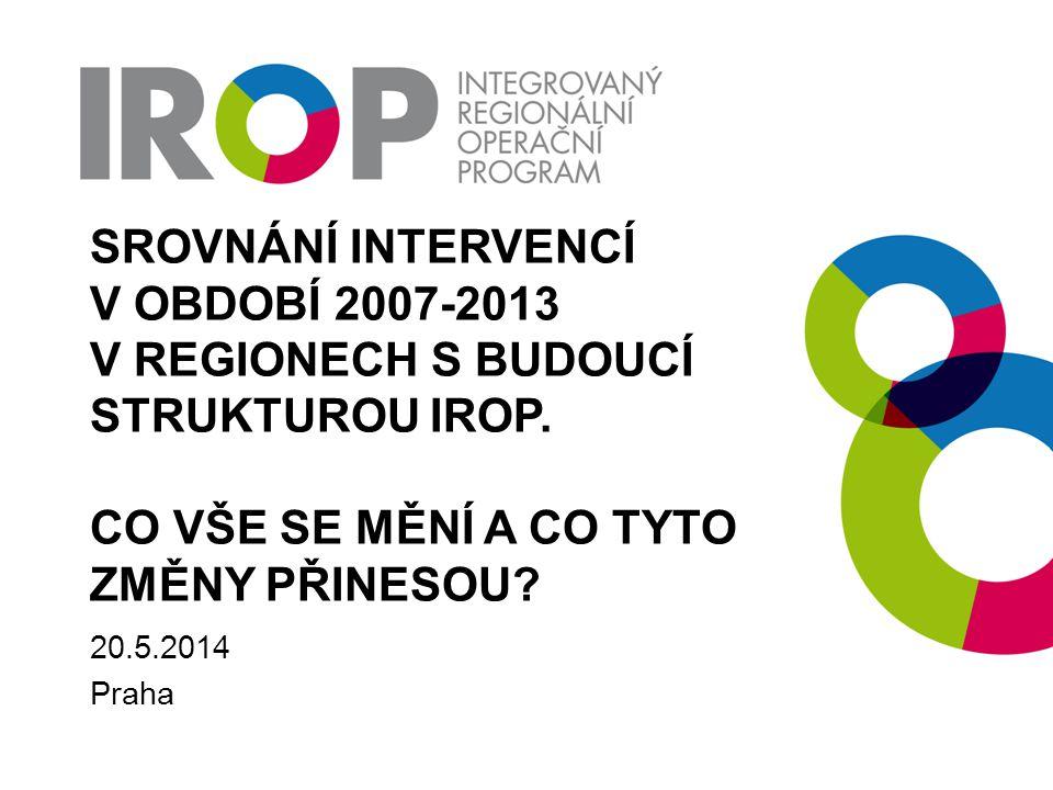 Srovnání intervencí v období 2007-2013 v regionech s budoucí strukturou IROP. co vše se mění a co tyto změny přinesou