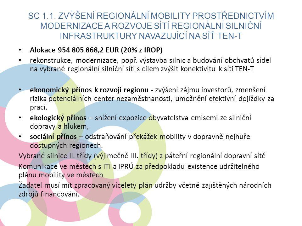 SC 1.1. Zvýšení regionální mobility prostřednictvím modernizace a rozvoje sítí regionální silniční infrastruktury navazující na síť TEN-T
