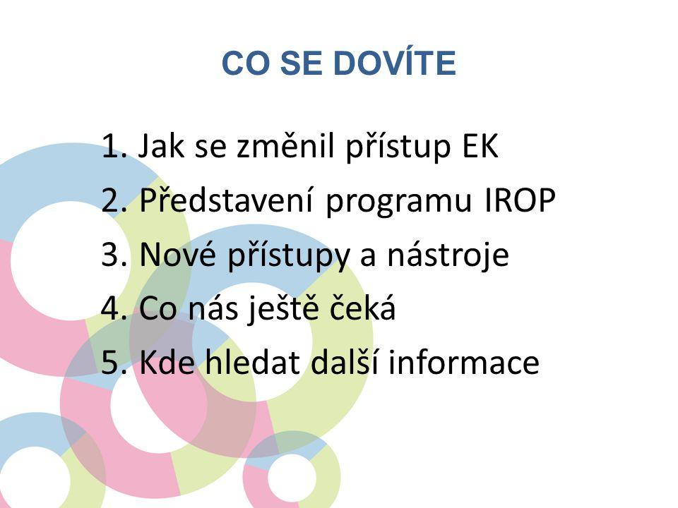 Jak se změnil přístup EK Představení programu IROP
