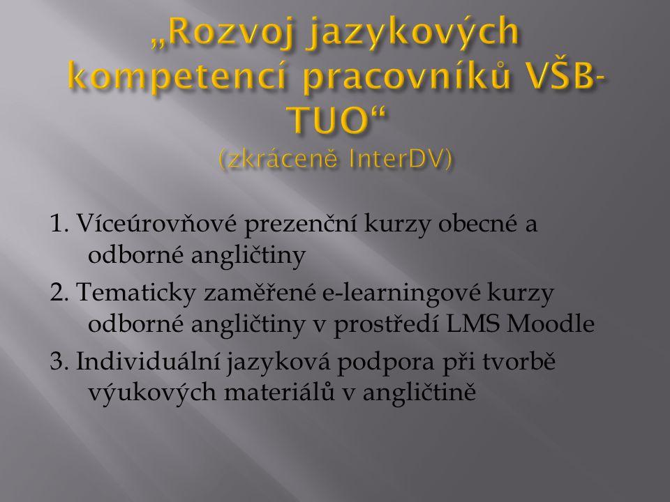"""""""Rozvoj jazykových kompetencí pracovníků VŠB-TUO (zkráceně InterDV)"""