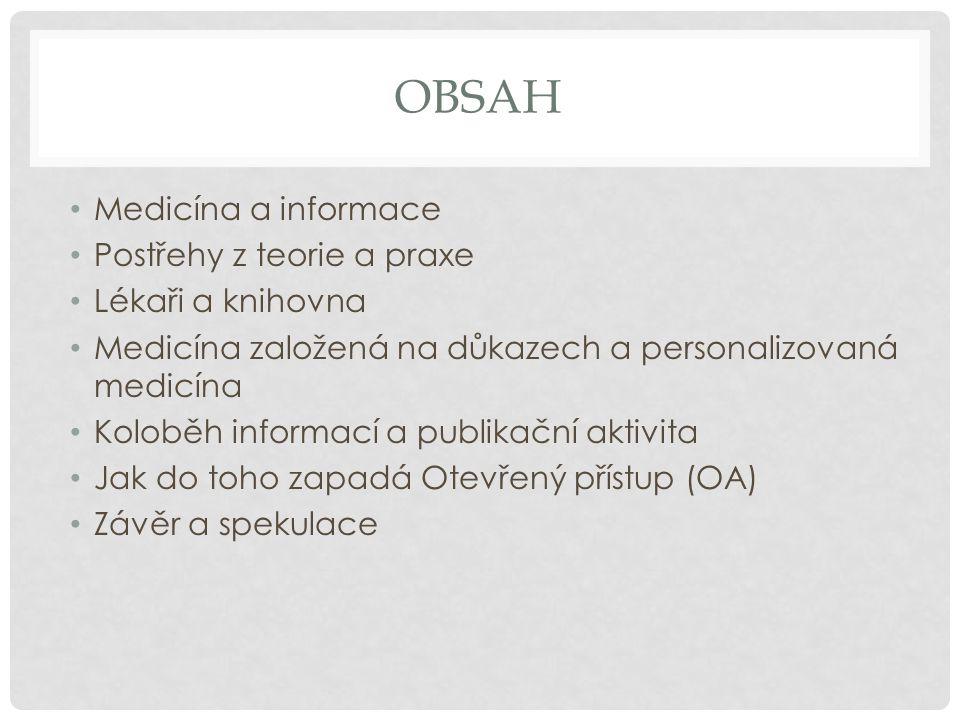Obsah Medicína a informace Postřehy z teorie a praxe Lékaři a knihovna