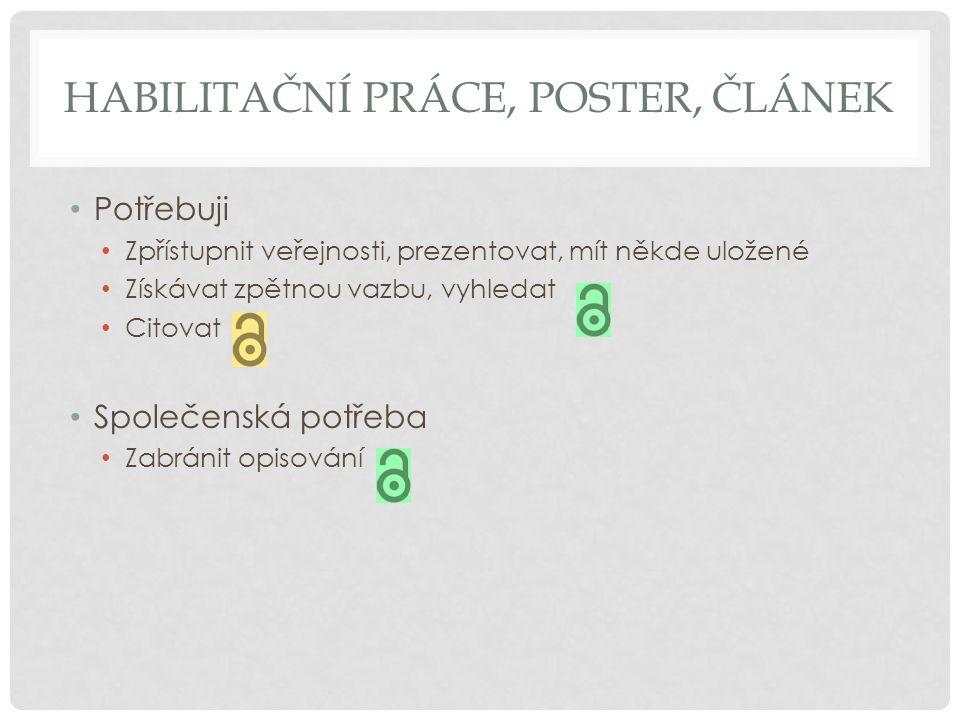 Habilitační práce, poster, článek