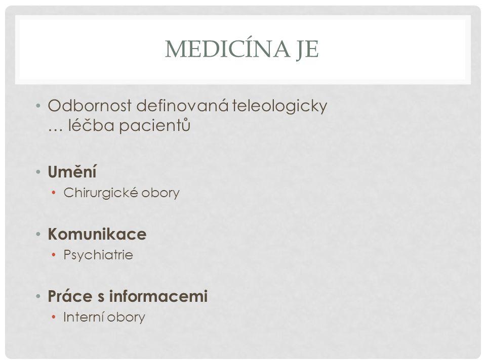 Medicína je Odbornost definovaná teleologicky … léčba pacientů Umění