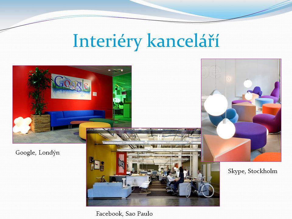 Interiéry kanceláří Google, Londýn Skype, Stockholm