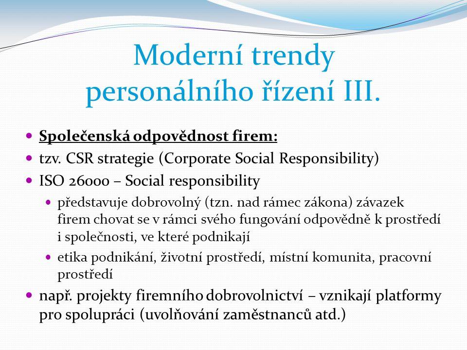Moderní trendy personálního řízení III.