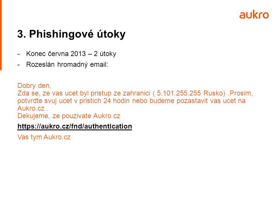 3. Phishingové útoky Konec června 2013 – 2 útoky