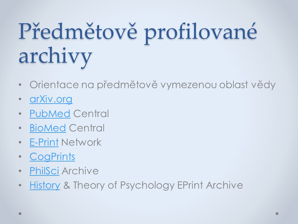 Předmětově profilované archivy
