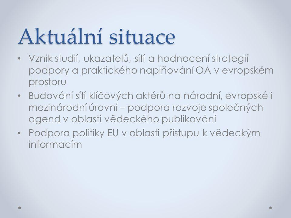 Aktuální situace Vznik studií, ukazatelů, sítí a hodnocení strategií podpory a praktického naplňování OA v evropském prostoru.