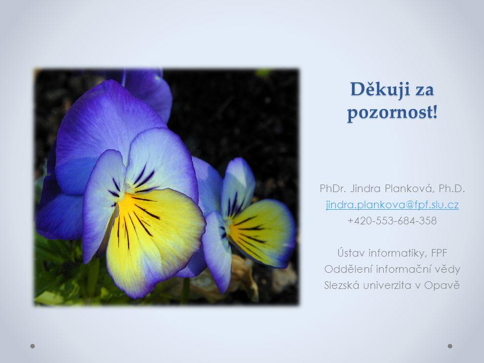 Děkuji za pozornost! PhDr. Jindra Planková, Ph.D.