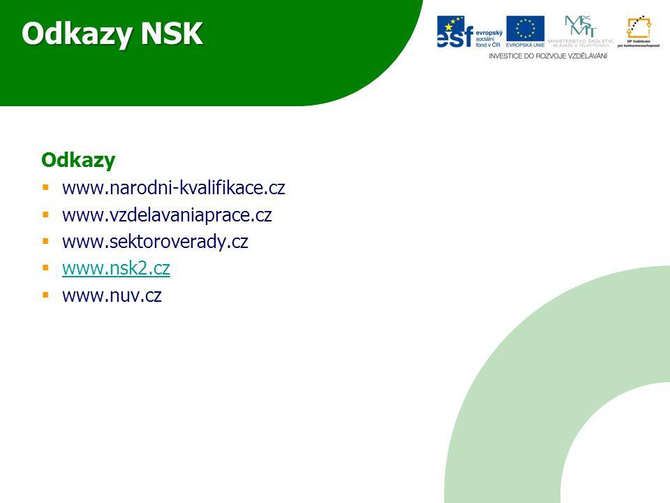 Odkazy NSK Odkazy www.narodni-kvalifikace.cz www.vzdelavaniaprace.cz