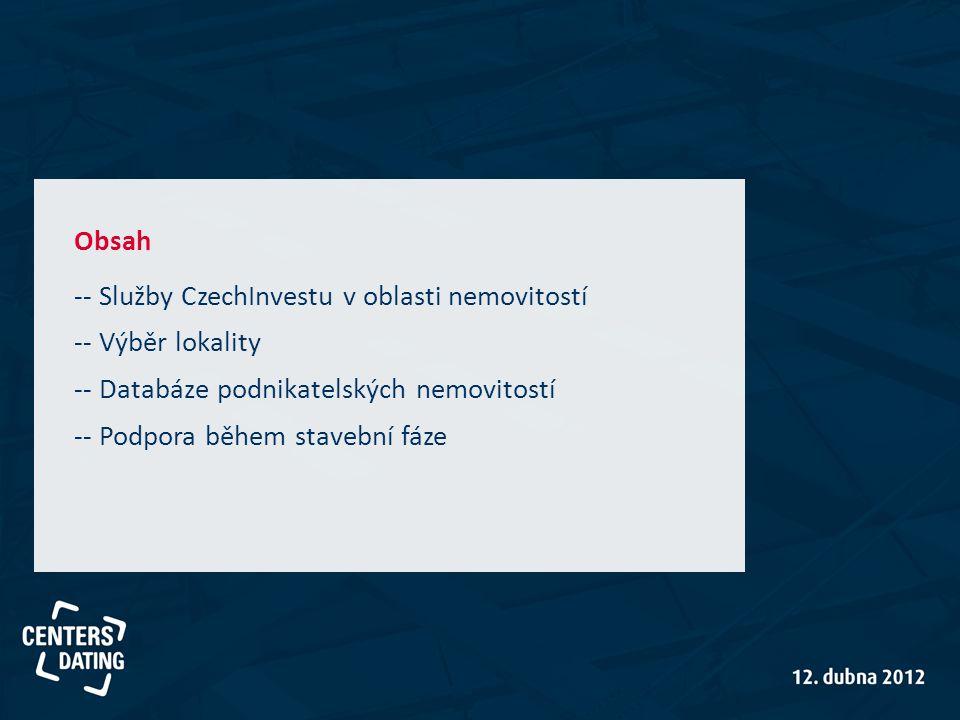 -- Služby CzechInvestu v oblasti nemovitostí -- Výběr lokality