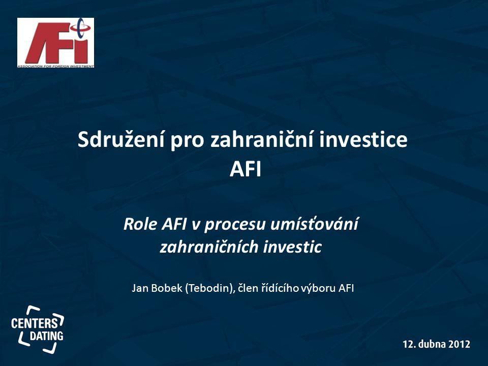 Sdružení pro zahraniční investice Role AFI v procesu umísťování