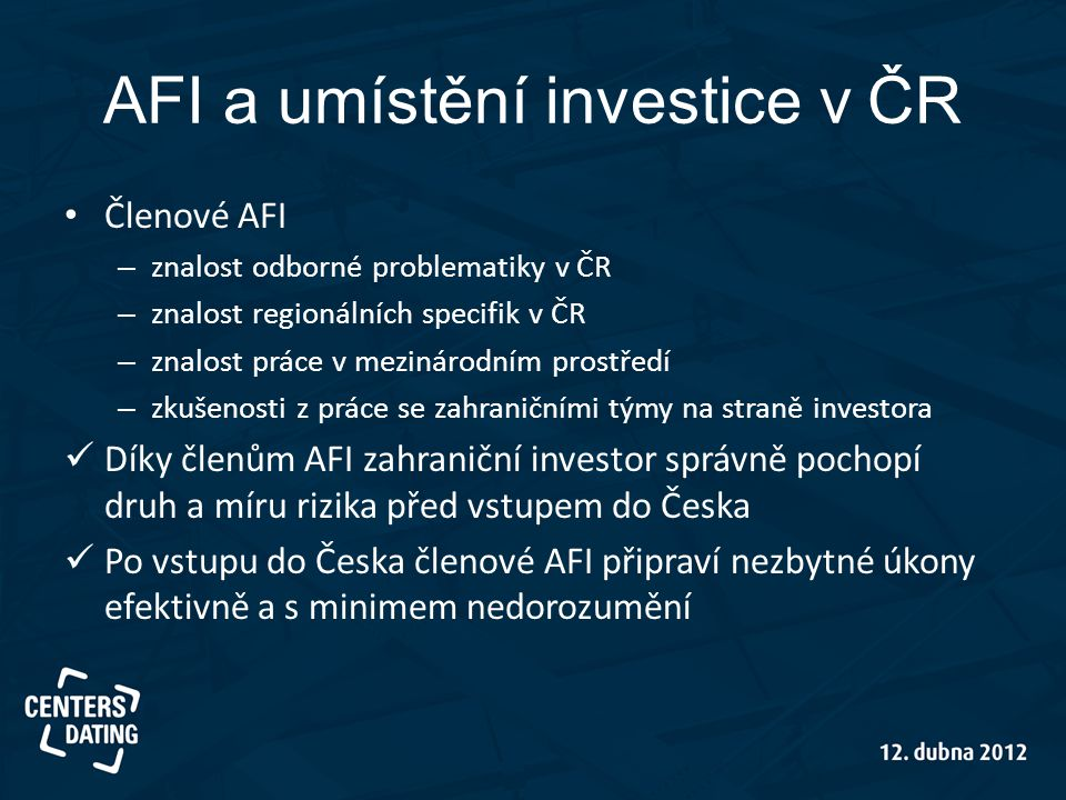AFI a umístění investice v ČR