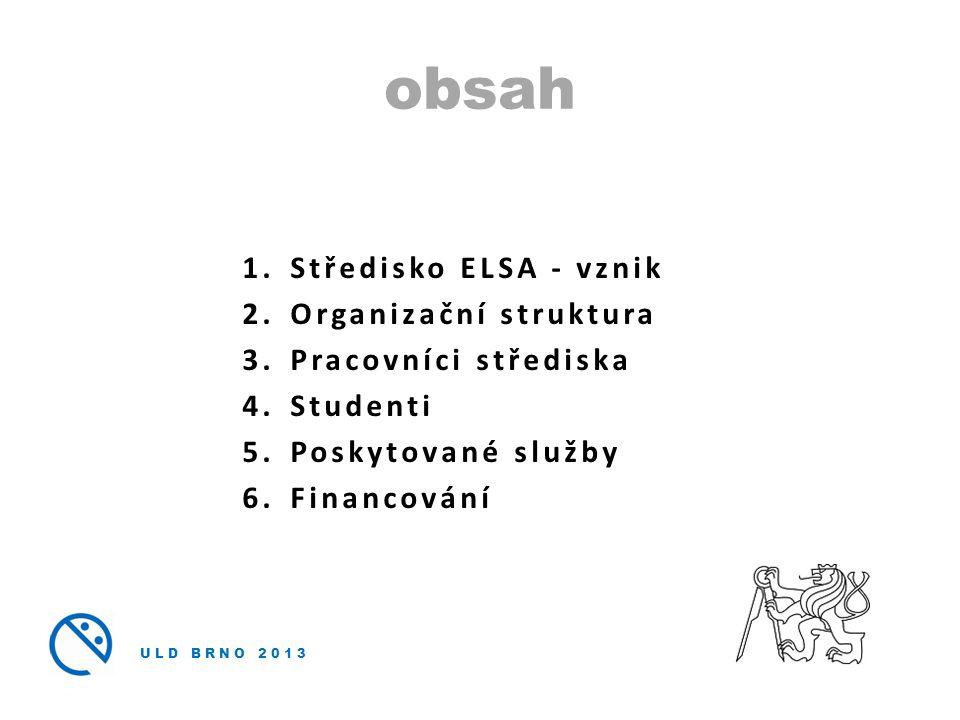 obsah Středisko ELSA - vznik Organizační struktura