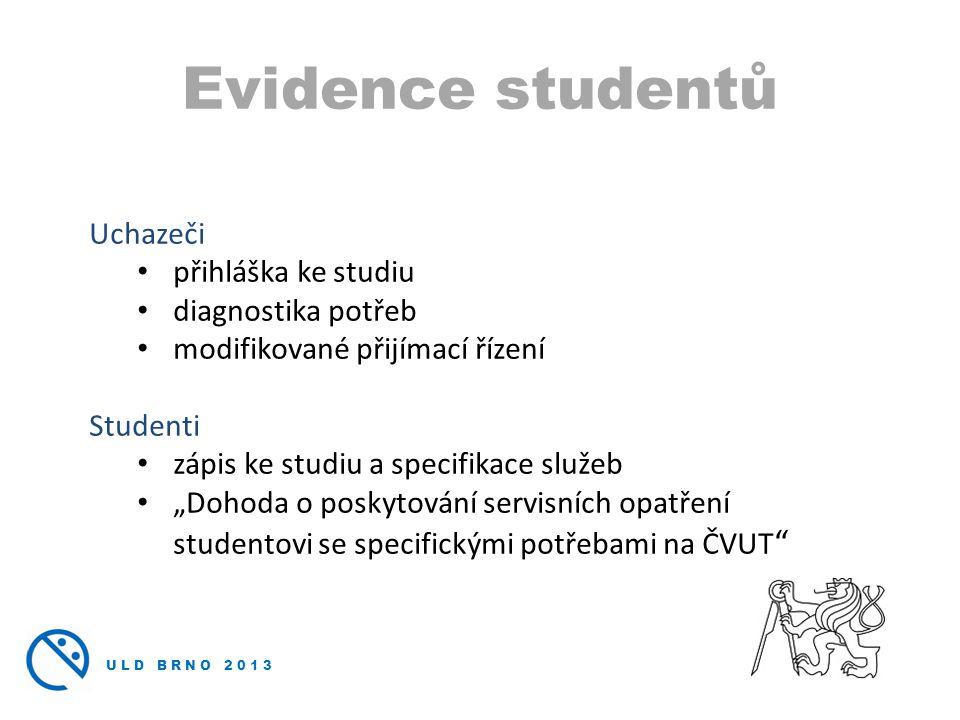 Evidence studentů Uchazeči přihláška ke studiu diagnostika potřeb