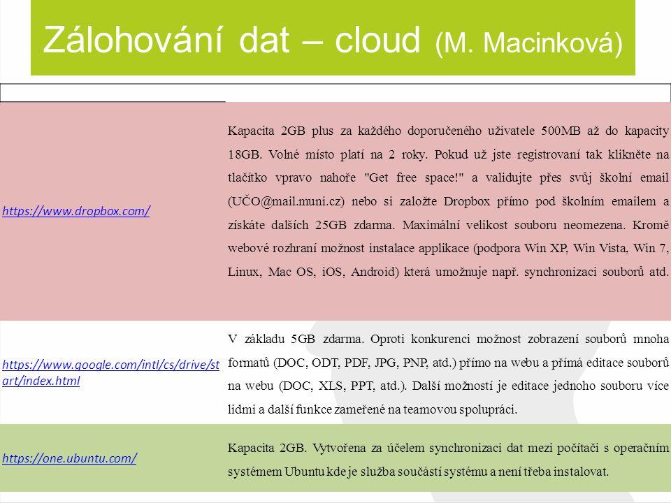 Zálohování dat – cloud (M. Macinková)