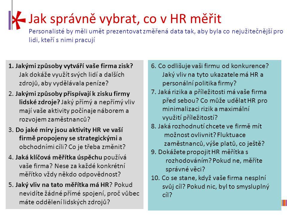 Jak správně vybrat, co v HR měřit Personalisté by měli umět prezentovat změřená data tak, aby byla co nejužitečnější pro lidi, kteří s nimi pracují