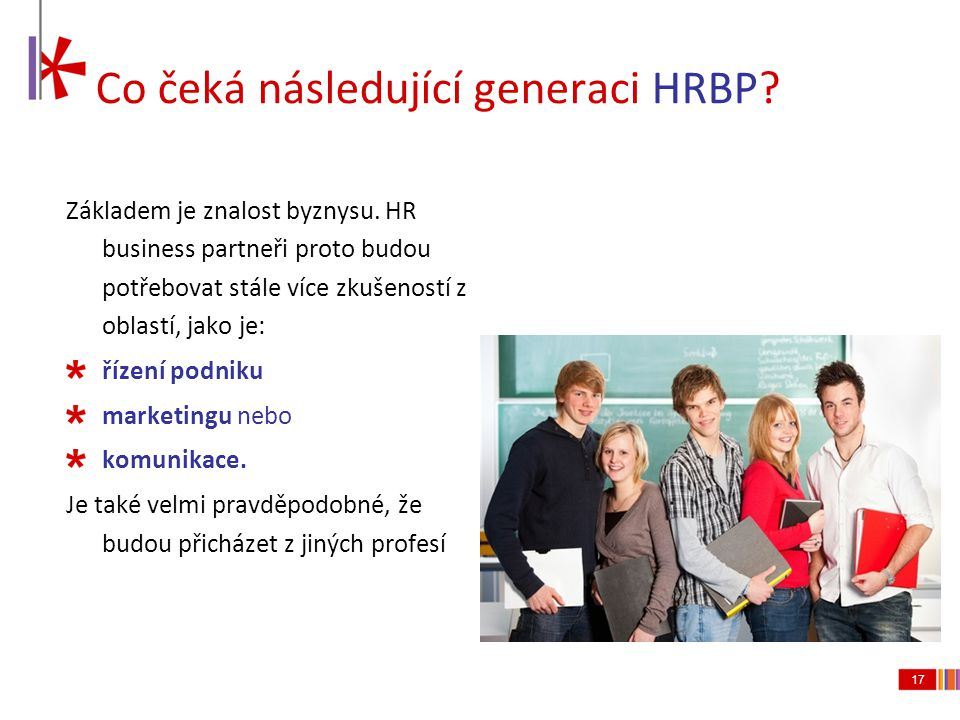 Co čeká následující generaci HRBP