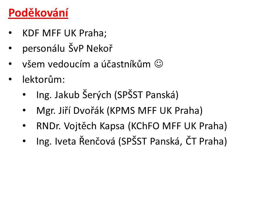 Poděkování KDF MFF UK Praha; personálu ŠvP Nekoř
