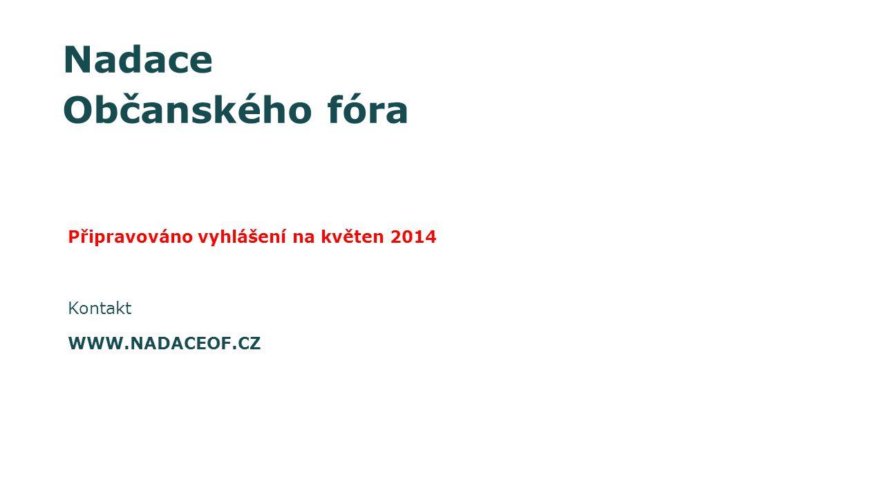 Nadace Občanského fóra Připravováno vyhlášení na květen 2014 Kontakt