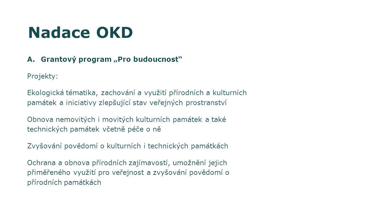 """Nadace OKD Grantový program """"Pro budoucnost Projekty:"""