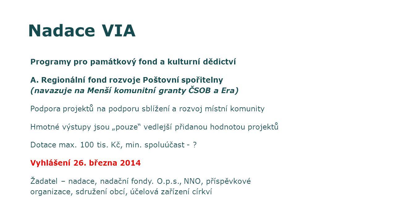 Nadace VIA Programy pro památkový fond a kulturní dědictví
