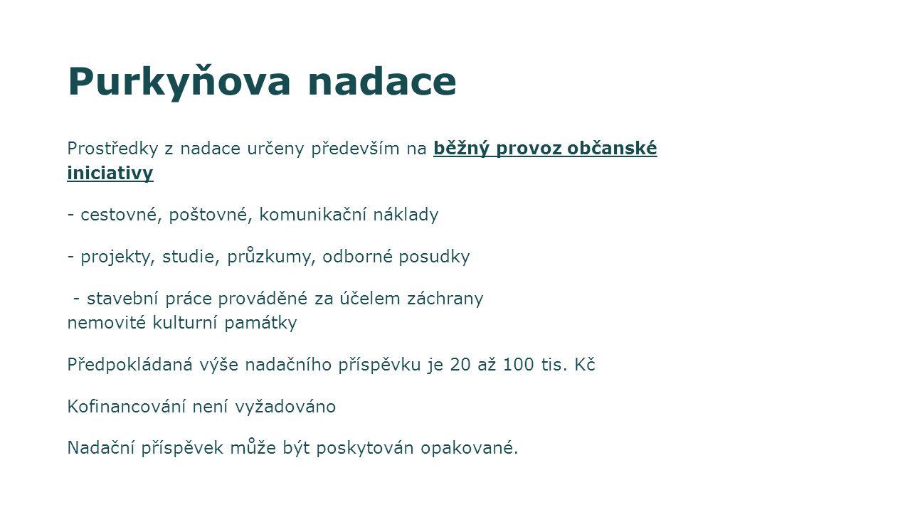 Purkyňova nadace Prostředky z nadace určeny především na běžný provoz občanské iniciativy. - cestovné, poštovné, komunikační náklady.