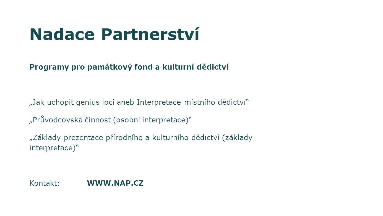 Nadace Partnerství Programy pro památkový fond a kulturní dědictví